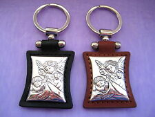 YOU PICK GUARDIAN ANGEL Sterling Silver 925 & Leather Keyring Gift Birthday