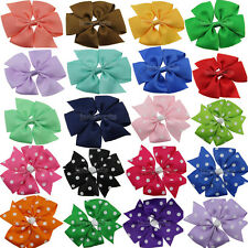 "12x 4"" Boutique Girls Baby Hair Bows Grosgrain Ribbon Clips Hairpin Accessories"