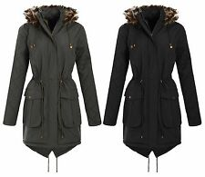 New Ladies Padded Parka Jacket Quilted Sleeve Fur Hooded Winter Coat 18-24