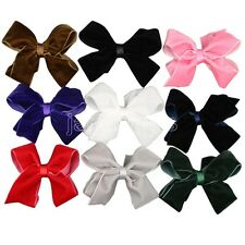 "12x 4.5"" Big Hair Bows Boutique Girls Baby Toddler Alligator Clips Velvet Ribbon"