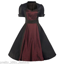 5050 Rockabilly 50s Black Purple Satin Vintage Pin Up Swing Prom Dress 8-22
