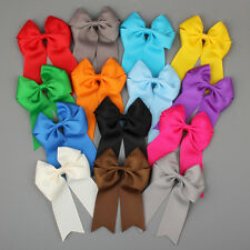 "12x 4"" Handmade Girls Ribbon Boutique Ponytail Hair Bow Clips Barrette Cheer Bow"