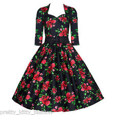 PRETTY KITTY BLACK ROSE 3/4 VINTAGE ROCKABILLY TEA FLORAL SWING PROM DRESS 8-22
