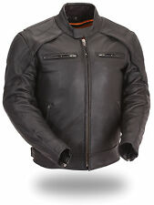 FMC Mens Black Leather Vented Motorcycle Biker Scooter Jacket Reflective Piping