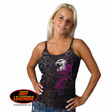 Hot Leather Ladies Spaghetti Strap Black Burn Out Glitter Eagle Head Tank Top