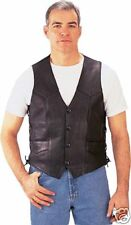 Unik Mens Black Leather Motorcycle Biker Single Panel Side Lace Vest