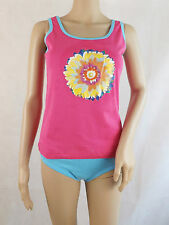 Women's Pink pyjama set vest & knickers with carry bag floral design size 14/16