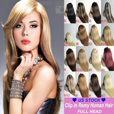 FASHION BEAUTY Clip In Remy Human Hair Extensions Full Head Cheap Price 7PCS C77