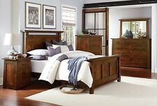 Luxury Amish Bedroom Set 5-Pc. Mission Rustic Encada Solid Wood Queen King Bed