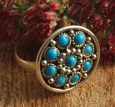 Ring Indian round Silver 925 with Turquoise Handmade Size 52,54,56