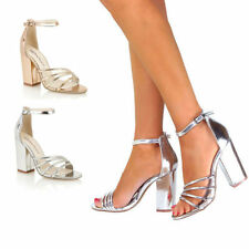 Womens Ladies New Mid Block Block Heel Party Sandals Ankle Strappy Shoes Size