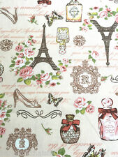CREAM PARIS ROSES Eiffel Tower 100% COTTON FABRIC CRAFT CLOTH 1/2-20 YARDS
