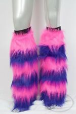 Cheshire Cat Purple and Pink Striped Fluffy Legwarmers Rave Wear Accessories