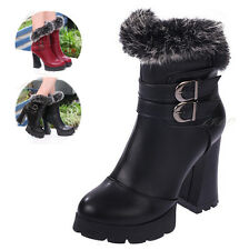 Fashion Womens Rabbit Fur Buckle Ankle Boots Shoes Chunky High Heel Zip Platform
