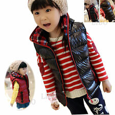 Kid Girl Boy Winter Warm Thick Hooded Zipper Waistcoat Vest Coat Outwear Jacket