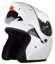 DOT RODIA FULL FACE GLOSS WHITE MODULAR MOTORCYCLE HELMET FLIP UP FACE MASK