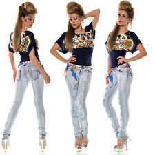 Sexy Women Lite Blue Destroyed Look Skinny Jeans Rip Effect Including Belt 8/14
