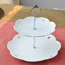 1 Set 2 or 3 Tier Cake Plate Stand Handle Crown Fitt Metal Wedding Party Gift