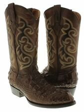 Men's New Brown Crocodile Hornback Leather Rodeo Western Cowboy Boots