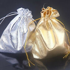 50Pc Golden/Silver Organza Gift Bags Wedding Party Favour Bag Candy Pouch 12x9cm