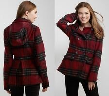 AERO Aeropostale Plaid Hooded Peacoat Pea Coat Winter Jacket XS,S,M,L,XL,2XL NEW