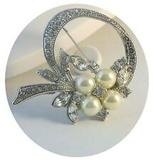 Pearl Pin Brooch Hair Jewelry Gold Silver Crystal Pearl Bride Bridesmaid Boxed