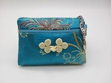 "SILK EMBROIDERED COIN PURSE 5"" Small Change Wallet Pouch Bag Zipper"