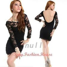Sexy Women 2 PC Long Sleeve Open Back Cocktail Party Lace Mini Dress Nightclub