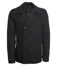 AERO Aeropostale Mens Classic Peacoat Black Pea Coat Jacket S,M,L,XL,2XL,3X NEW!