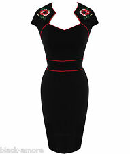 HELL BUNNY BLACK WIGGLE PENCIL DRESS HIBISCUS ROCKABILLY 50'S 8-22 NEW