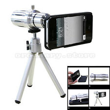 12X Optical Telescope Zoom Camera Lens Tripod + Back Case Kit For iPhone Samsung