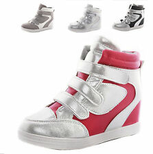 2016 Womens Girls Hidden Wedge High Top Velcro Strap Sneaker Ankle Boots Shoes