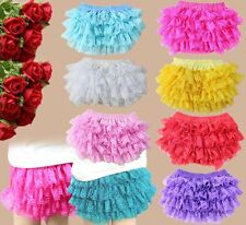 Cute Baby Girl Cotton Lace Ruffle Bloomer Nappy Diaper Covers Panties Clothes