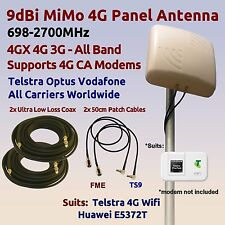 9dBi 4G 3G 700-2700 MiMo Antenna for Telstra PrePaid 4G WiFi E5372T Coax FME TS9