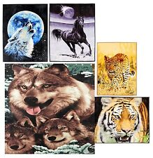 Animal Print 3D Mink Faux Fur Throw Fleece Blanket Soft Bed Sofa Couch