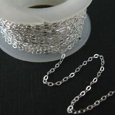 Sterling Silver Wholesale Bulk Chain 2mm Flat Cable Chain. Unfinished Chain
