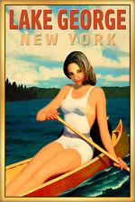 Lake George New York Travel Poster Canoe Pin Up Adirondack Art Print 273