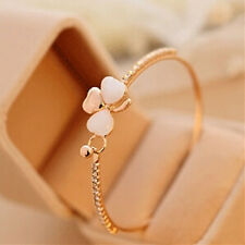 Fashion Gold/Silver Plated Cat's Eye Clover Crystal Cuff Bracelet Bangle Jewelry