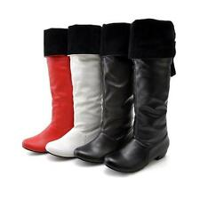 2016 Womens pu Leather Low Cuban Heel Knee High Boots Shoes US All Size 4-13