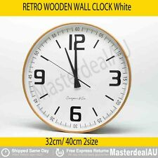 RETRO WOODEN WALL CLOCK NATURAL BAMBOO WHITE BROWN 40 32cm Hanging Decor GIFT