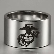 14MM US Marine Corps Usmc.Military Heavy Pipe-Cut Tungsten Carbide Ring Signet