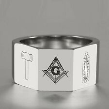 12MM Gavel &The Level 3-Facet Tungsten Carbide Ring Masonic Square Compass