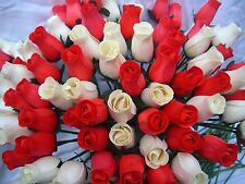 VALENTINES DAY GIFT WHOLESALE STOCK CLEARANCE SALE CREAM & RED SET WOODEN ROSES