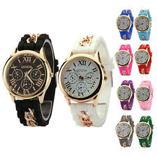 Womens Girl Analog Quartz Wrist Watch Geneva Jelly Golden Crystal Silicone Watch