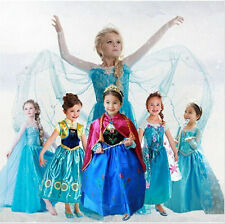 Disney FROZEN Princess Anna Elsa Queen Girls Cosplay Costume Party Formal Dress)