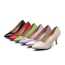 Womens New Synthetic Leather Tip Toe Stilettos High Heels Pumps OL Shoes US Size