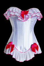 Burlesque White Satin Lace Up Satin Corset Bustier Costume Dress Up  G string