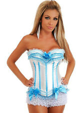 White Blue Lace Up Boned Corset Bustier Costume Fancy Dress Up with G string