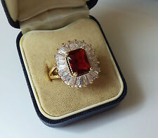 18ct Gold Plated Emerald Cut Red CZ Cluster Ring.