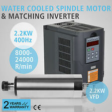 2.2KW WATER COOLED SPINDLE MOTOR 2.2KW VFD DRIVE ENGRAVING  BEARING BRAND NEW
